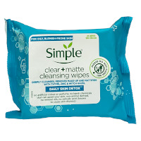 Simple Clear + Matte Cleansing Facial Wipes - 25 Wipes (6pcs) (£1.08/each) (3931)