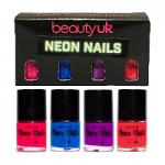 Beauty UK Neon Nail Polish Set (Magenta/Blue/Purple/Coral)