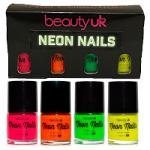 Beauty UK Neon Nail Polish Set (Pink/Orange/Green/Yellow)
